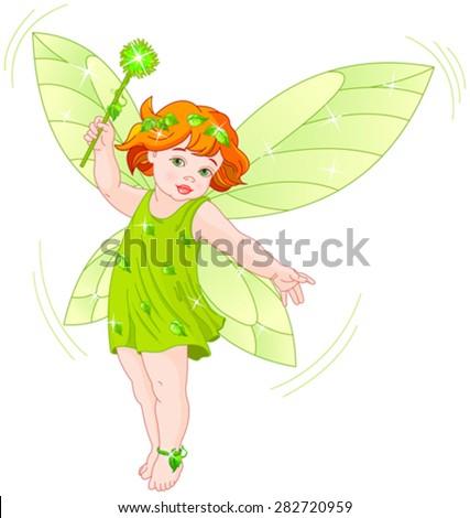 Illustration of a summer baby fairy in flight - stock vector