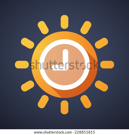 Illustration of a sun icon with a clock - stock vector