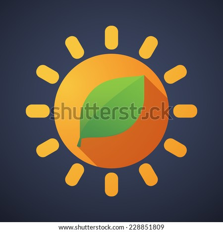 Illustration of a sun icon with a leaf