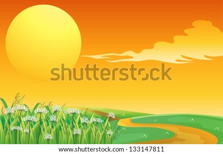 Illustration of a sunset at the top of the hill with a pathway - stock vector