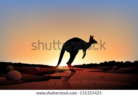 Illustration of a sunset with a kangaroo