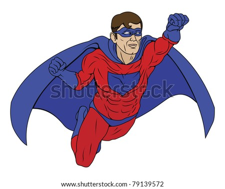 Illustration of  a super hero dressed in red and blue costume with cape flying through the air - stock vector