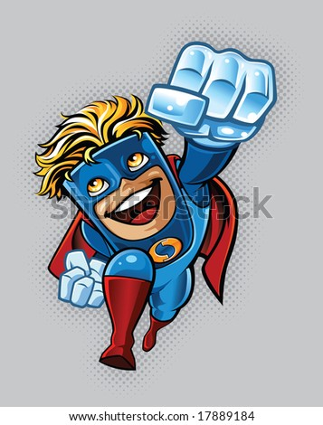 "Illustration of a super hero flying through the air. Character is adorned with gloves, boots, cape and generic ""S"" emblem. - stock vector"