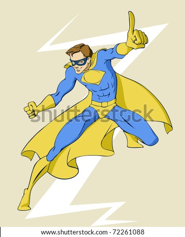 Illustration of a super hero in standing winning pose - stock vector
