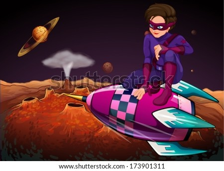 Illustration of a superhero at the outerspace above a spaceship - stock vector