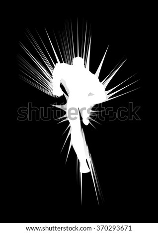 Illustration of a superhero running with abstract flash as the background - stock vector