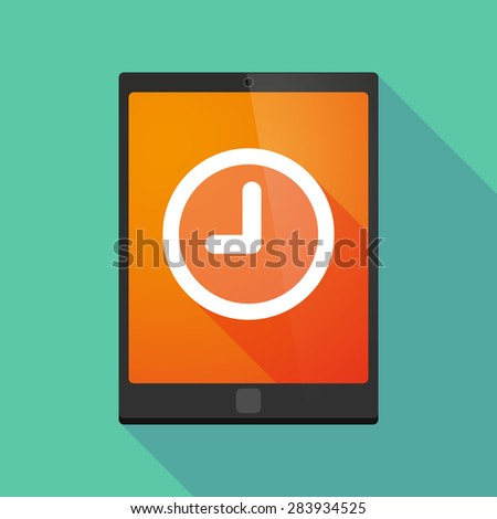 Illustration of a tablet pc icon wit a clock - stock vector