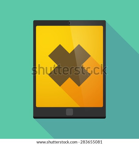 Illustration of a tablet pc icon wit an irritating substance sign - stock vector