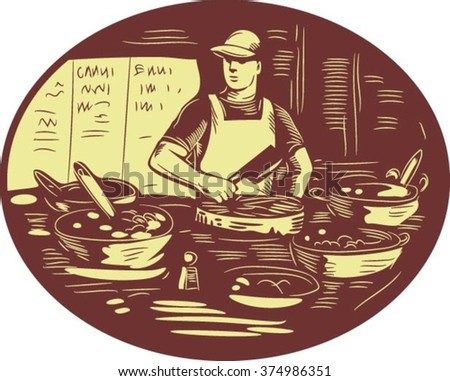 Illustration of a Taco chef cook wearing hat and apron holding meat cleaver knife in market food stall with pots set inside oval shape done in retro style. - stock vector