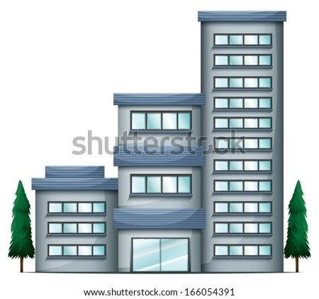 Illustration of a tall condo building on a white background - stock vector