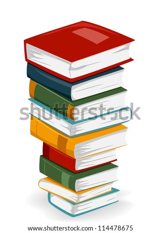 Illustration of a Tall Stack of Books with Different Covers - stock vector