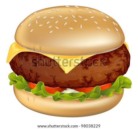 Illustration of a tasty looking classic beef cheeseburger with lettuce, tomato and onion - stock vector