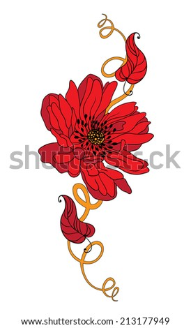illustration of a tattoo red flower - stock vector