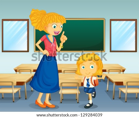 Illustration of a teacher and a student - stock vector