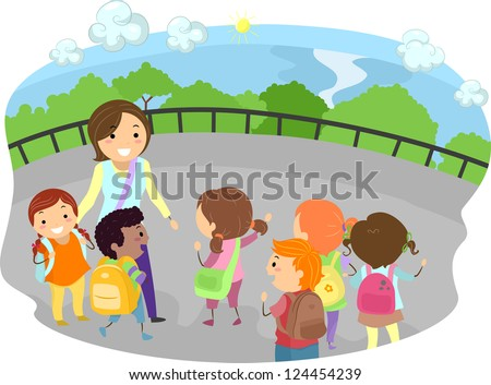 Illustration of a Teacher and Kids Out on a Field Trip - stock vector
