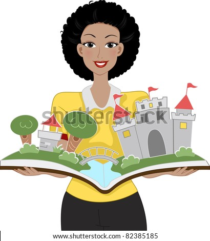 Illustration of a Teacher Holding a Storybook - stock vector