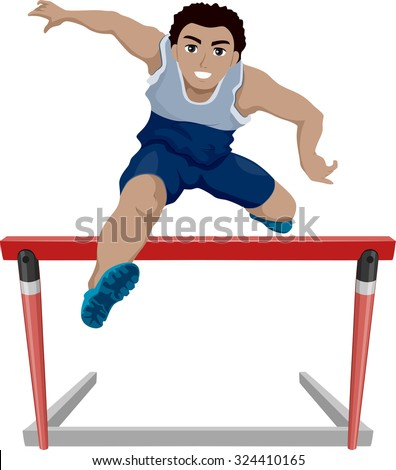 Illustration of a Teenage Athlete Jumping Over a Hurdle - stock vector