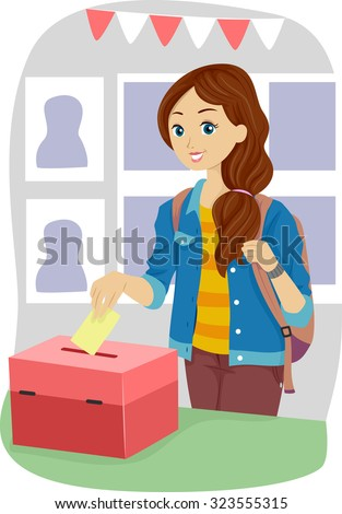 Illustration of a Teenage Girl Casting Her Vote - stock vector
