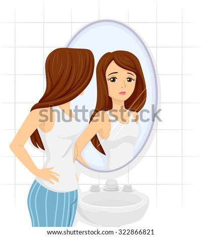 Illustration of a Teenage Girl Checking Her Figure on the Mirror - stock vector