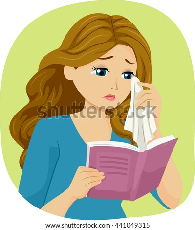 Illustration of a Teenage Girl Crying While Reading a Book - stock vector