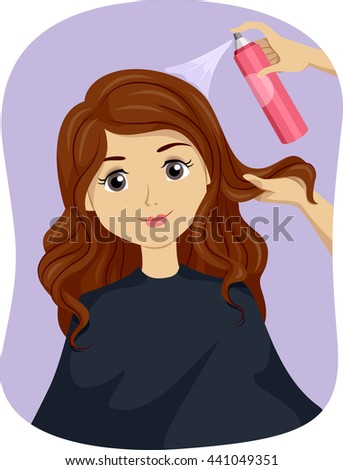 Illustration of a Teenage Girl Getting a Hair Treatment