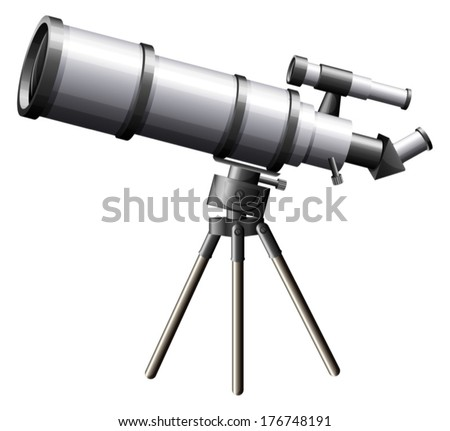 Illustration of a telescope on a white background - stock vector
