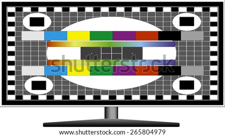 Illustration of a television test pattern with signal lost message
