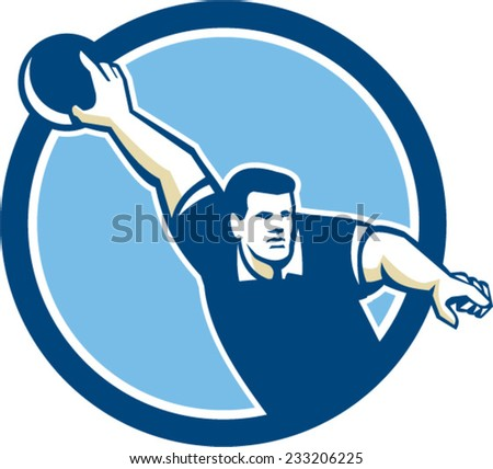 Illustration of a ten-pin bowler ready to throw bowling ball viewed from front set inside circle on isolated background done in retro style.  - stock vector