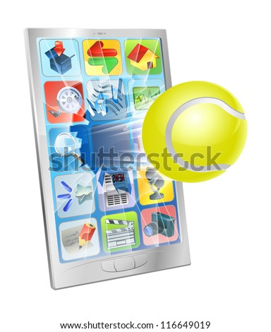Illustration of a tennis ball flying out of a broken cell phone screen - stock vector