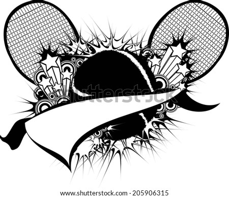 illustration of a tennis ball, tennis racket & pennant with ribbons, stars, flourishes, bursts and other design elements.