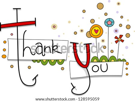 Illustration of a Thank You Card with Whimsical Flowers in the Background - stock vector