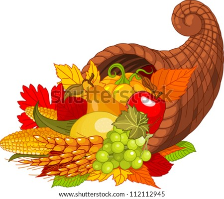 Illustration of a Thanksgiving cornucopia full of harvest fruits and vegetables. - stock vector