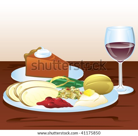 Illustration of a thanksgiving dinner with wine and pumpkin pie. - stock vector