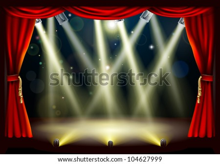 Illustration of a theater stage with lots of stage lights or spotlights with footlights - stock vector
