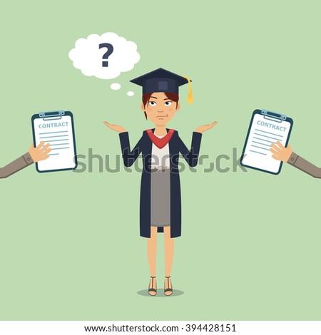 Illustration of a thinking graduate - stock vector