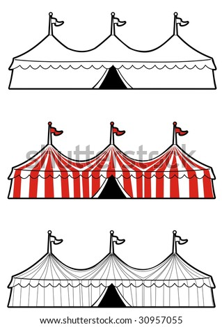 Illustration of a three ringed circus tent in color and black and white.  Ideal for carnival signs - stock vector