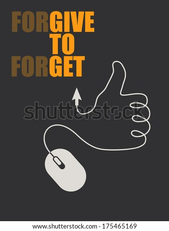 Illustration of a thumb up formed with the wire of a mouse with the inspirational message - stock vector