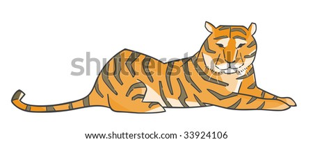 Illustration of a tiger. - stock vector