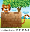 Illustration of a tiger hiding on a pile of bricks - stock vector