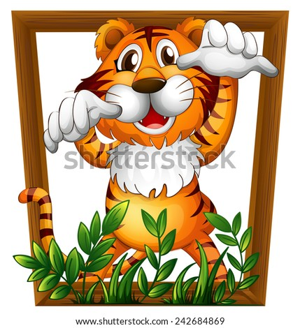 Illustration of a tiger in a frame - stock vector