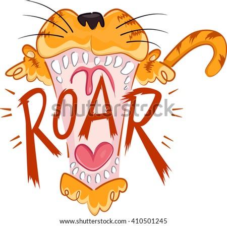 Illustration of a Tiger Roaring - stock vector