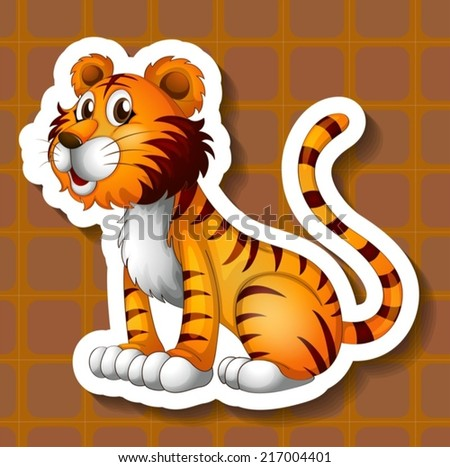 Illustration of a tiger with background - stock vector