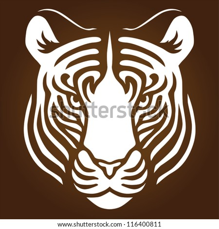 Illustration of a tigers head - stock vector