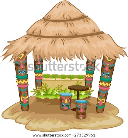 Illustration of a Tiki-themed Hut with Tiki Face Stools and Support Posts - stock vector