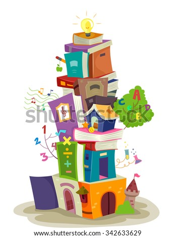 Illustration of a Tiny Building Built from a Stack of Books - stock vector