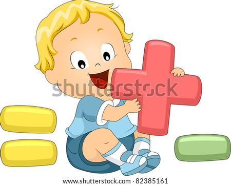 Illustration of a Toddler Playing with Mathematical Symbols - stock vector