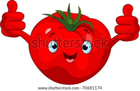 Illustration of a Tomato Character  giving thumbs up - stock vector