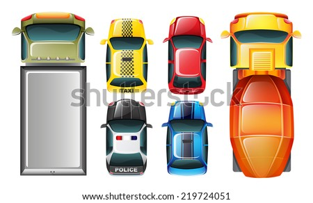 Illustration of a topview of the parked vehicles on a white background  - stock vector