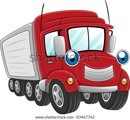 Illustration of a Trailer Truck at Work - stock vector
