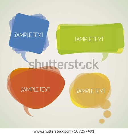 illustration of a transparent speech bubbles on a light background, vector illustration - stock vector